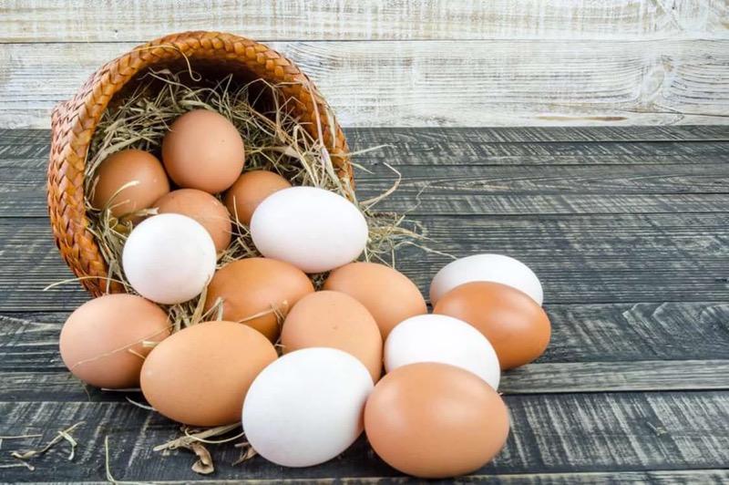Яйца куриные высыпались из корзины