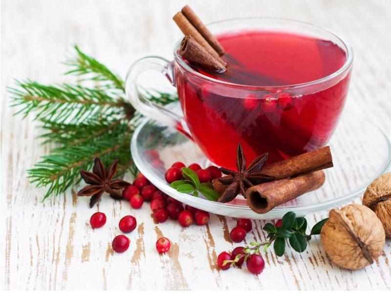 Клюквенный чай с имбирем
